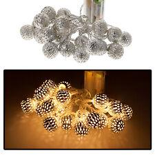 Lichterkette 10 LED Kugelform Dekolicht Weihnachten Beleuchtug Batterie Warmweiß