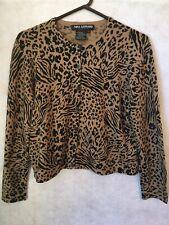 Ladies Cardigan Sweater Nina Leonard Leopard Animal Print Women's Petite Pl