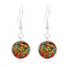 "3/4"" to 1 1/2"" Dangle Hook Folk Art"" Domed Glass Photo Art Earrings"