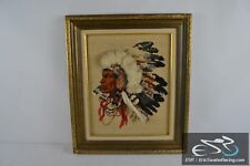 """Indian with 3D Headdress Framed Cross Stitch Needlepoint Picture 27x23"""""""
