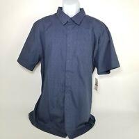 Haggar Mens Shirt NEW XXL Blue Short Sleeve Pocket Button Down NWT $48
