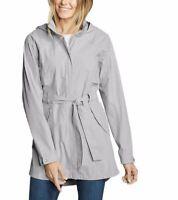 Eddie Bauer Womens Gray Kona Trench Coat w/ Waist Ties Co Lt Grey Pic Sz 1359786