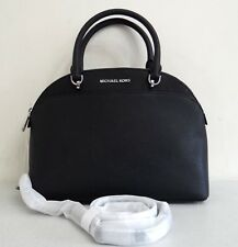 Michael Kors EMMY Large Dome Satchel Black Leather Handbag