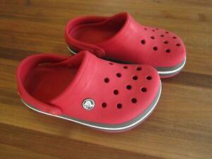 Kids Crocband CROCS Red with black band white size J1 Junior 1