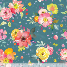 CHELSEA MARKET FABRIC BY BLEND WATERCOLOUR FLORAL FABRIC CRAFT QUILTING BUNTING