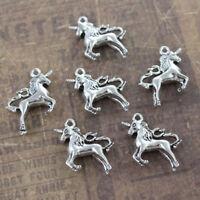 DIY Tone 3D Antiqued Silver Accessories Unicorn 10 Pcs Charms Unicorn Pendants