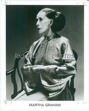 1991 Portrait of Dancer Martha Graham in Chair Original News Service Photo