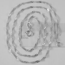SOLID 18K WHITE GOLD SINGAPORE BRAID ROPE CHAIN 18 INCHES, 2 MM MADE IN ITALY