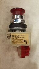 Lot of 7 Square D 9001-K2L1R Illuminated Red Mushroom Momentary Push Button N/C