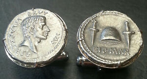 Brutus Assassin of Julius Caesar Ides of March Ancient Roman Coin Cufflinks +Box