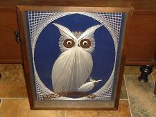 Vtg Outsider Folk Art SHADOW BOX STRING FABRIC OWL Wood Framed Wall Hanging