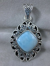 "Natural Blue Larimar 925 Sterling Silver Handmade Enhancer Pendant 2-1/8""L"