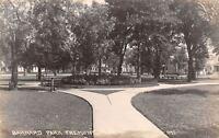 Fremont Nebraska~Barnard Park~Circle Path~Drinking Fountain~Homes~1920s RPPC