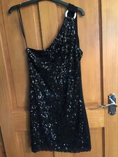 Ladies Black Sequin Top or short dress. One shoulder. Size small
