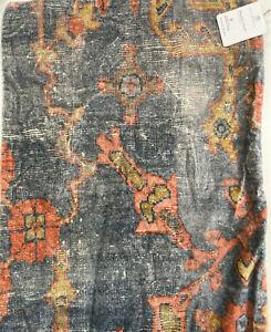 """Pottery Barn Dara Velvet Lumbar Pillow Cover 16"""" x 26"""" Blue Multi"""
