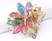 Czech Butterfly Brooch Filigree with Coloured Stones, Vintage 1940s