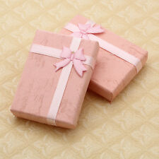 10X Pink Paperboard Jewelry Pendant Pink Wedding Gift Box Ribbon Bow 7x5cm CHIC