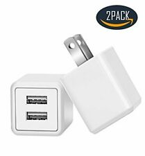 USB Plug in Wall Charger, Charging 2.4A Universal Dual Adapter 2-Port USB