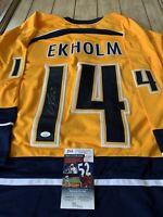 Mattias Ekholm Autographed/Signed Jersey JSA COA Nashville Predators