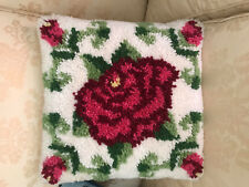 Vtg 70s Latch Hook Pillow Pink ROSE Floral Hand Made w/love Velvet Backed 15x15""