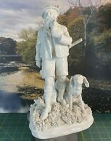 Antique Dresden Von Schierholz German Porcelain Figurine, Hunter And His Dog