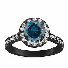 1.70 Carat Enhanced Blue Diamond Engagement Ring 14K White Gold Halo