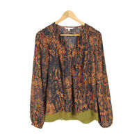 Cabi Wrap Blouse Top Brown Women's Small Snakeskin Long Sleeve Tie V-neck
