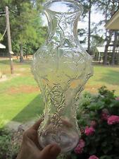 "vintage clear vase embossed raised design flowers vines hollyhocks 4 o clocks 9"""