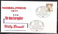 Germany 1971 cover Willy Brandt,politician,Nobel Prize laureat.Sonderstempel SST