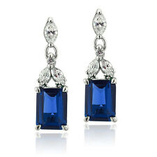 925 Silver Lab Created Blue Sapphire & CZ Rectangle Dangle Earrings
