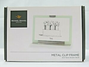 "Michael Graves Design Metal Clip Picture Frame  4x6"" Glass Double Sided (NEW)"