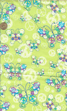 OOP! BUTTERFLY/PEACE AND FLOWERS ON GREEN  COTTON FABRIC - BTY