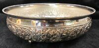 Beautiful Sterling Silver 925 Bowl Floral Repoussé Home Decor Luxury Goods Gift