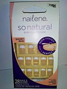 NAILENE So Natural EVERYDAY FRENCH  #71004 Short Beige - Includes NEW GLUE
