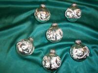 ~ 6 große alte Christbaumkugeln Glas silber weiß Glocke Zweig Weihnachtskugeln