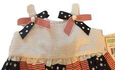Bonnie Jean Baby Girl Americana Stars and Stripes Seersucker 2 Piece Dress 18 M