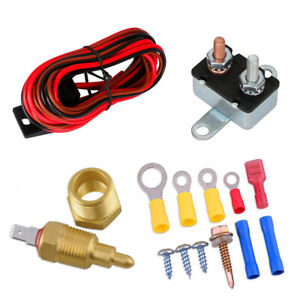 12V Upgrade Electric Fan Wiring Install Kit 185 Degree Thermostat 60 Amp Relay