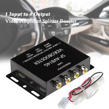12V 1 to 4 RCA AV Video Amplifier Splitter Booster 75ohm For Car LCD DVD Player