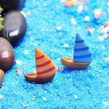 2pcs Mini Sail Boat Ship Micro Landscape Fairy Garden Decor Ocean Home Crafts