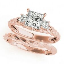 LADIES 14k ROSE GOLD SEMI-MOUNT THREE STONE PRINCESS DIAMOND ENGAGEMENT RING
