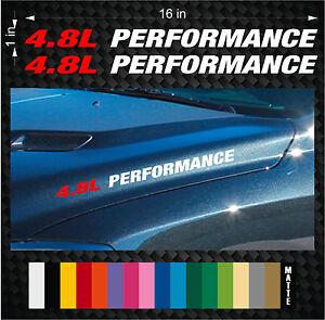 (2) 4.8L PERFORMANCE Hood Vinyl Sticker Emblem Decals - Chevy Vortec Z71 GMC V8