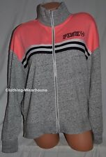 Victoria's Secret PINK Slouchy Full Zip Crew Sweatshirt Pullover Coral Gray L