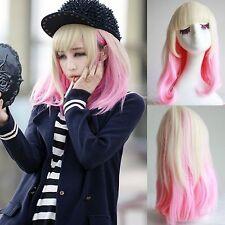 harajuku blonde pink gradient ombre full wig costume curly wavy medium long hair