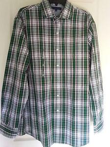 Tommy Hilfiger Mens Dress/Casual Shirt Button-Up Collar Green Plaid Sz M - XXL