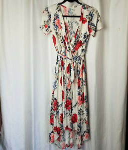 Medium PINK BLUSH Off White Cross Front Maxi Dress, Blue & Pink Floral, Belted