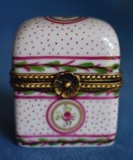 Vintage Pink Roses Travel Trunk Decor Main Limoges France Signed Trinket Box