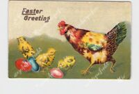 PPC POSTCARD EASTER GREETINGS HEN CHICKS EGGS EMBOSSED