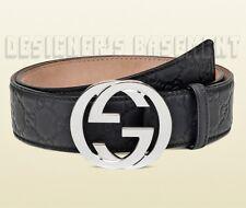 GUCCI black 46-115 GUCCISSIMA rubberrized Interlocking G buckle belt NWT Authent