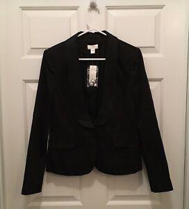 T) NWT Ann Taylor Loft Women's Black on Black Pinstripe Tuxedo Jacket Size 8