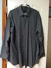 """Men's 19"""" Shirt: 34/35 Long Sleeve, Dress button-up, charcoal pinstr G+ RGS29 9e"""